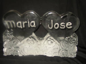 Double hearts ice carving